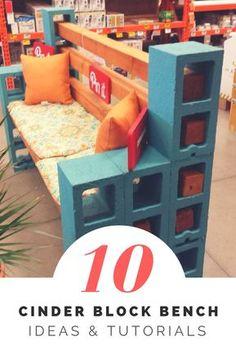 How to Make a Cinder Block Bench: 10 Amazing Ideas to Inspire You! via @1001Gardens