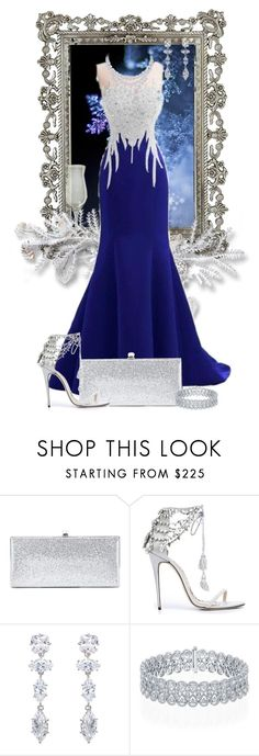 """""""Ice Sculpture"""" by arisa-nightingale ❤ liked on Polyvore featuring Disney, Jimmy Choo, Marchesa, Graff, Fallon, eveningwear and icequeen"""