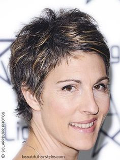 super short pixie | Jamie Lee Curtis in her signature short, pixie length hair style.Side and ...