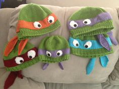 Hand-knit teenage mutant ninja turtle hat with ribbed or rolled bottom edge. on Etsy, $15.00