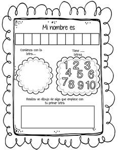 Preschool Spanish, Learning Spanish, Kids Learning, Spanish Classroom, Name Activities, Spanish Activities, Graph Paper Art, 1st Grade Worksheets, Kindergarten First Day
