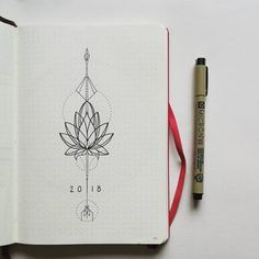 Bullet journal yearly cover page, flower drawing, floral drawing, geometric drawing. | @lookaladybird