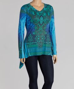 Take a look at this Poliana Plus Green & Blue Sublimation Sidetail Top - Plus today!