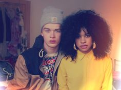 Natural hair - cute interracial couple.