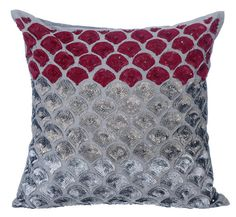 Decorative Throw Pillow Covers Couch Toss Bed Pillow Case 16x16 Grey Silver Silk Pillow Cover Sequins Embroidered - Cranberry Space ________________________________________________________________________  The design Cranberry Space has been conceptualized and created, keeping in mind the finest details and needs to decorate your beautiful abode. It is a perfect addition to enhance your living room, bedroom, guestroom or office. I promise it will give a WOW factor to you and your guests…