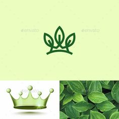 Crown Logo Graphics, Designs & Templates from GraphicRiver (Page Crown Logo, Eco Green, Leaf Logo, Coreldraw, Graphic, Illustration, Plant Leaves, Templates, Logos