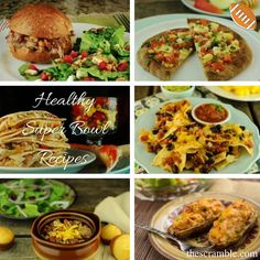 Healthy Super Bowl Recipes for gatherings and parties for the Big Game including healthier wings, pizza, nachos, 7-layer dip, chili, tortilla chips with cheese sauce, stuffed potato skins, pulled pork sandwiches and quesadillas