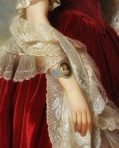 """Portrait of Marie-Louise, the first Queen of the Belgians"" (detail), c.1841, Franz Xaver Winterhalter."