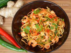 Recette de Nouilles chinoises au paprika fumé, crevettes marinées au citron vert : la recette facile