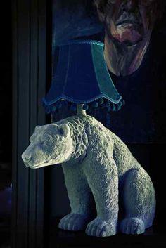 Grey flocked polar bear lamp #AbigailAhern #AbigailAhernEDITION #DesignersAtDebenhams