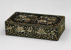 Clothing box with peony scrolls, Joseon dynasty (1392–1910), 16th–17th century  Korea  Lacquer with mother-of-pearl and tortoiseshell inlay