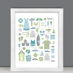 Summer in New England 11x14 art, green, blue