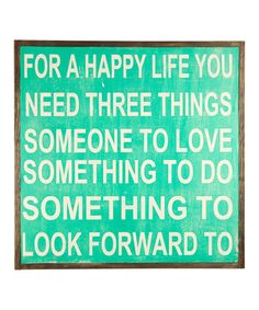 'For a Happy Life' Wall Sign
