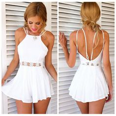 Online Shop Macacao Feminino 2015 Rompers Womens Jumpsuit Summer Style Waist Lace Hollow out Bodysuit Wave White Playsuit Vestidos Cortos Asos Jumpsuit, Jumpsuit With Sleeves, Short Jumpsuit, Sparkly Jumpsuit, Jumpsuit Shorts, Strapless Jumpsuit, White Jumpsuit, White Pants, Jumpsuits For Sale
