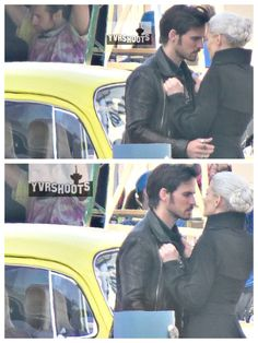 Are Captain Swan still bonded even though Emma has gone Dark? Once Upon a Time shot a scene of Captain Hook (Colin O'Donoghue) meeting Dark Swan (Jennifer Morrison) near her yellow VW bug th… Abc Tv Shows, Best Tv Shows, Best Shows Ever, Favorite Tv Shows, Captain Swan, Captain Hook, Dark Swan, Hook And Emma, Outlaw Queen