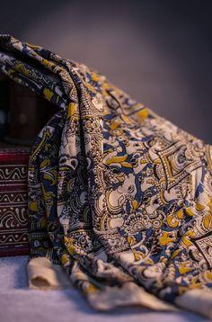 Explore Fabriclore's Range of Kalamkari Cotton fabrics done in hand block designs of Buddha faces, florals, elephants & more. Fabric Photography, Clothing Photography, Kurti Designs Party Wear, Kurta Designs, Suit Fabric, Fabric Shop, Kalamkari Fabric, Kurta Style, Buddha Face