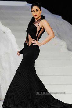 Kareena Kapoor looks radiant in black as she walks the ramp for Gaurav Gupta