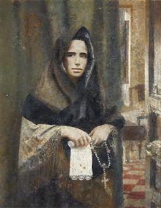 """"""" La Salmantina """" by Antonio López García . c. 1960 oil on canvas"""