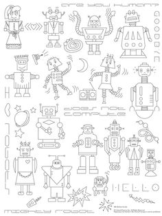 Robots Invade Embroidery Pattern