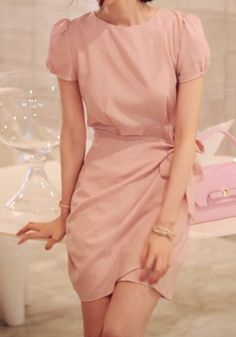 Laconic Round Neck Solid Color Short Sleeve Women's Dress