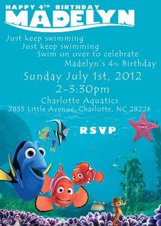 Nemo Birthday Party Invitations