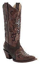 Corral® Ladies Brown Cognac w/ Python & Crystal Cross Snip Toe Western Boots