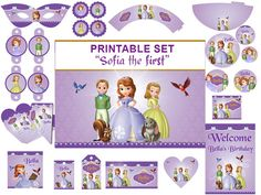 INSTANT DOWNLOAD Sophia the first  party kit , Sofia the first Birthday Party Package Printable Set, Amber, James, Princess Sofia. on Etsy, $7.99
