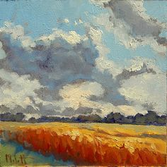 Heidi Malott Original Paintings: Impressionist Painting Autumn Fields Clouds Sky