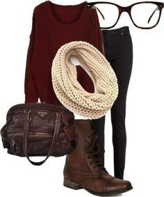 Maroon sweater and cream infinity scarf outfit. Love everything! Really want glasses like those..:D