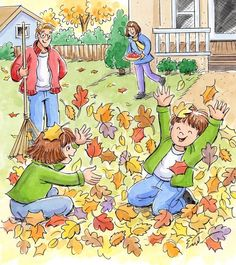 by Marilee Harrald-Pilz… Writing Pictures, Picture Writing Prompts, Drawing For Kids, Art For Kids, Communication Orale, Picture Composition, Autumn Scenes, Family Illustration, Hidden Pictures