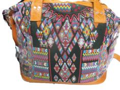 WEEKENDER HUIPIL BAG from Guatemala, vintage huipil and leather,overnight bag, shoulder bag, weekender bag, Guatemalan bag, Guatemala bag. by handmadewithart on Etsy