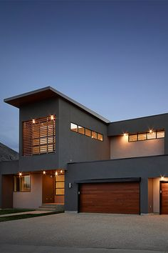 Dark exterior with warm wood tones