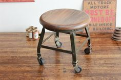 Vintage Industrial Rolling Angle Steel Stool Co. Stool - 1940s by Dorset Finds