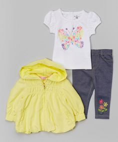 This Kids Headquarters White & Yellow Butterfly Tee Set - Infant by Kids Headquarters is perfect! #zulilyfinds