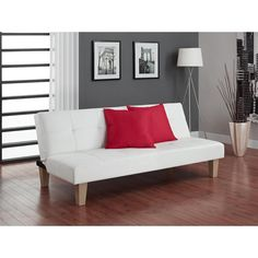 Sturdy, durable and comfortable, DHP's Aria Futon Sofa bed is a perfect choice for any room. This futon has faux leather upholstery that is easy to maintain with only a wipe down of a damp cloth.