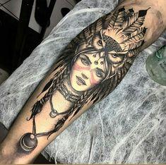 Indian with owl Beautiful Full Arm Tattoos, Leg Tattoo Men, Head Tattoos, Wolf Tattoos, Forearm Tattoos, Body Art Tattoos, Sleeve Tattoos, Tatoos, Native American Tattoos