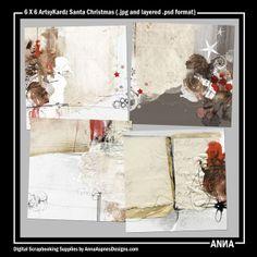 Oscraps :: Shop by Designer :: Anna Aspnes Designs :: 6 X 6 ArtsyKardz Santa Christmas #art #digitalart #scrapbook #photography