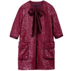 Marc Jacobs Textured Sequin Double Knit Coat (£3,435) ❤ liked on Polyvore featuring outerwear, coats, marc jacobs coats, sequin neck ties, purple neck tie, purple coat and neck ties