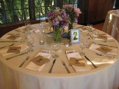 table setting for buffet style wedding | Beige linens. Buffet place setting.