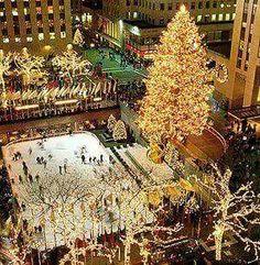 Schaatsen onder de kerstboom bij het Rockefeller, NYC.