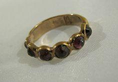 Talma Keshet Handmade Artisan Ring Israel Hammered 9K Solid Rose Gold Garnet 7 2 | eBay