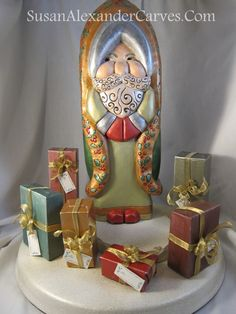 """Handmade 15"""" Santa Metallic Gold Silver Hand Carved Christmas Woodcarving Gift Carvings for Sale Home Art Standing Sculpture Susan Alexander"""
