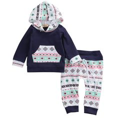 - Baby Girl - 2 piece set/outfit - Tribal Print - Long sleeve - Pants - Hood Free Shipping! Please allow 2-4 weeks for delivery.