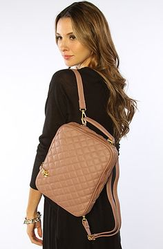 The Donata Quilted Backpack in Taupe (Exclusive) by Nila Anthony