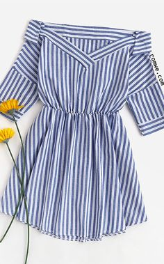 Foldover V Neckline Striped Dress