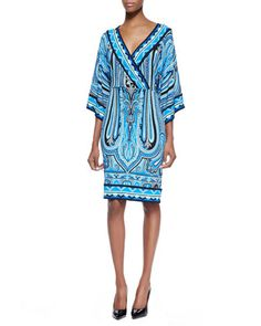 Engineer Paisley Faux-Wrap Column Dress, Blue by Etro at Neiman Marcus.