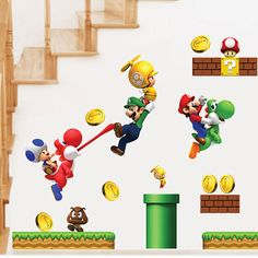 Cheap super mario wall stickers, Buy Quality sticker for kids room directly from China mario wall stickers Suppliers: Removable children bedroom super mario wall stickers for kids rooms adhesive nursery wall decals floor stickers wall poster Decoration Stickers, Floor Stickers, Removable Wall Stickers, Wall Stickers Home Decor, Cartoon Stickers, Kids Stickers, Cartoon Wall, Baby Nursery Decor, Nursery Wall Decals