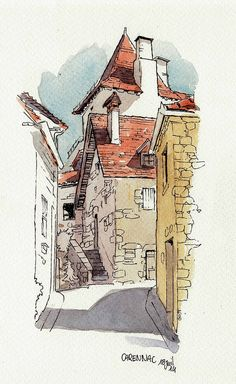 Carennac rue by Cat Gout Watercolor Architecture, Architecture Drawings, Watercolor Sketch, Watercolor Paintings, Simple Watercolor, Watercolours, Art Inspo, Art Sketches, Art Drawings
