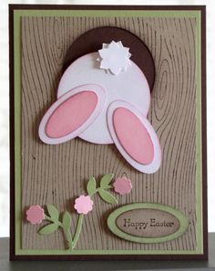stampin up Tree Stump Hole Bunny Easter Projects, Easter Crafts, Ostern Party, Holiday Cards, Christmas Cards, Punch Art Cards, Creative Cards, Kids Cards, Greeting Cards Handmade