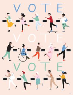 "action: ""Art by Creatr We asked Illustrator, Libby VanderPloeg: What do you want in 2018 & how will you make it happen? Get out and vote on every issue that matters to you, every chance you get. "" Art Action Day is January. Get Out The Vote, Rock The Vote, Feminist Art, Grafik Design, Paris, In This World, Illustration Art, At Least, Posters"